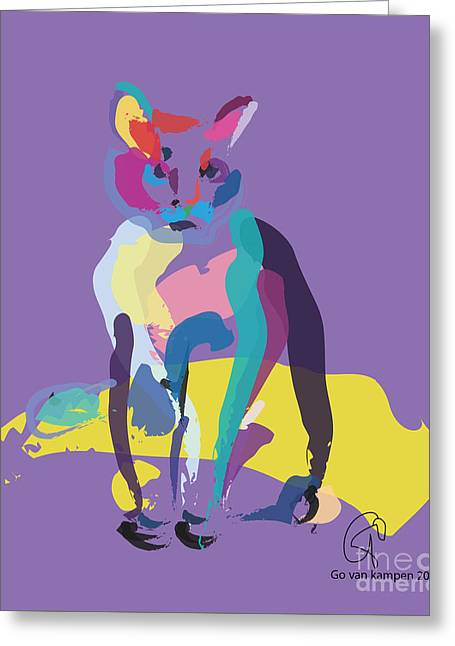 Cat In Colour Greeting Card