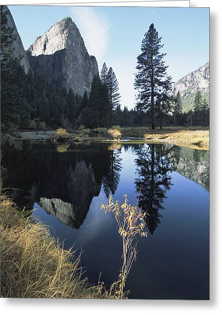 Cathedral Rocks And Reflection Greeting Card