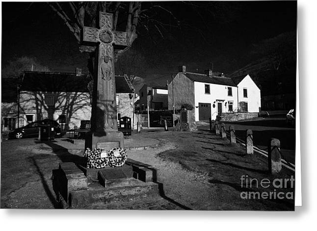 Celtic Cross War Memorial In Market Place In The Peak District Village Of Castleton Derbyshire  Greeting Card