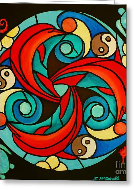 Greeting Card featuring the painting Celtic Dolphin Mandala by Janet McDonald