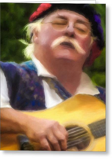 Celtic Folk Singer Greeting Card by Jill Balsam