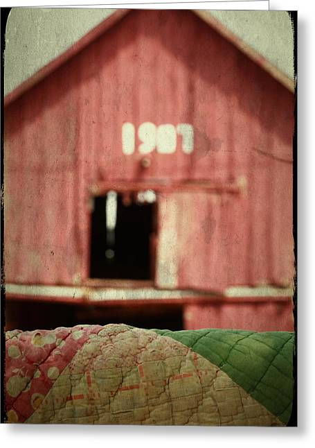 Centennial Barn And Vintage Quilt Greeting Card by Toni Hopper