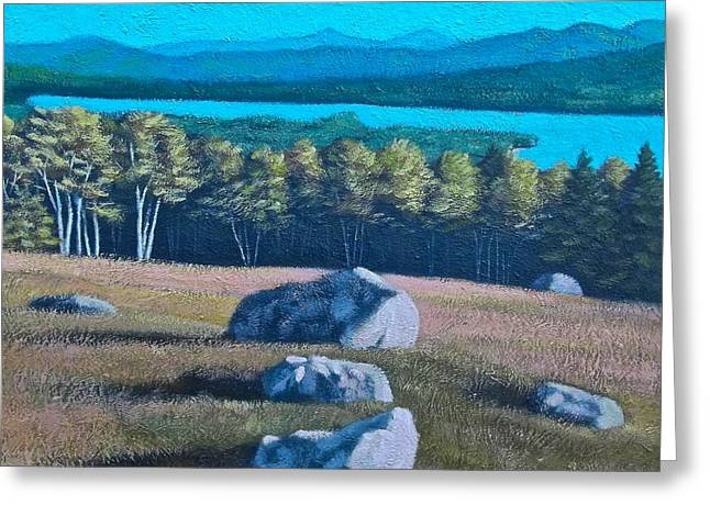 Center Hill Overlooking Webb Lake Greeting Card by George Ramos