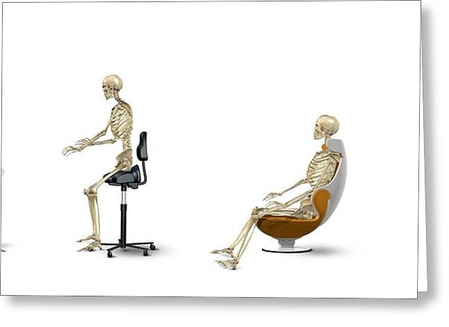 Chair Ergonomics, Correct Postures Greeting Card by Claus Lunau