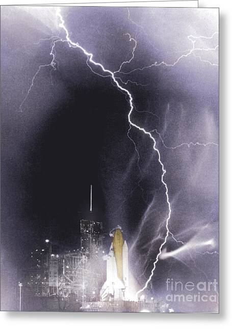 Challenger Struck By Lightning Greeting Card by Nasa