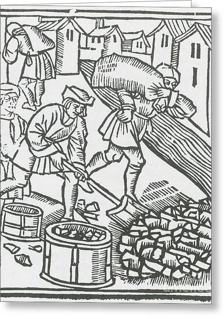 Charcoal Burners, Medieval Tradesmen Greeting Card