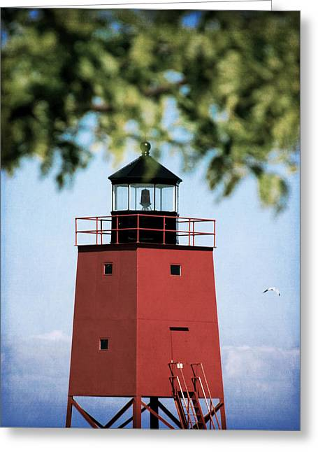 Charlevoix South Pier Lighthouse Greeting Card by Christy Woods