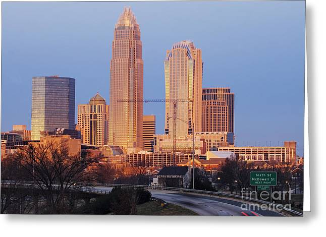 Charlotte Skyline At Sunrise Greeting Card by Jeremy Woodhouse