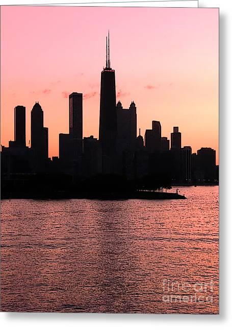 Chicago Skyline Cartoon Greeting Card by Sophie Vigneault