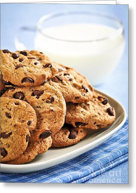 Chocolate Chip Cookies And Milk Greeting Card by Elena Elisseeva