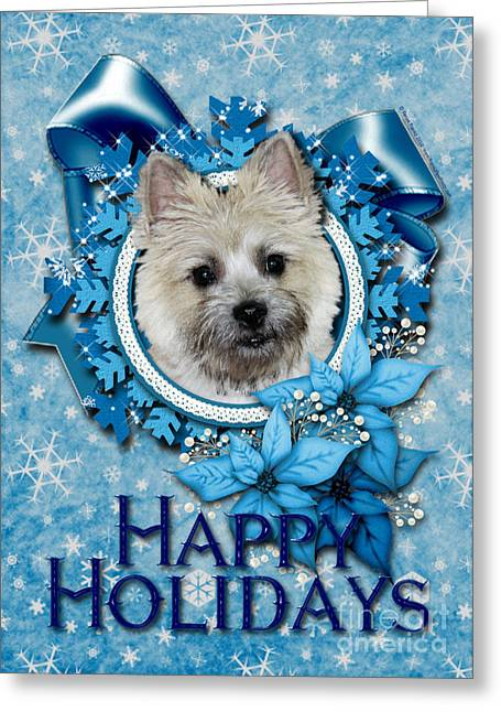 Christmas - Blue Snowflakes Cairn Terrier Greeting Card