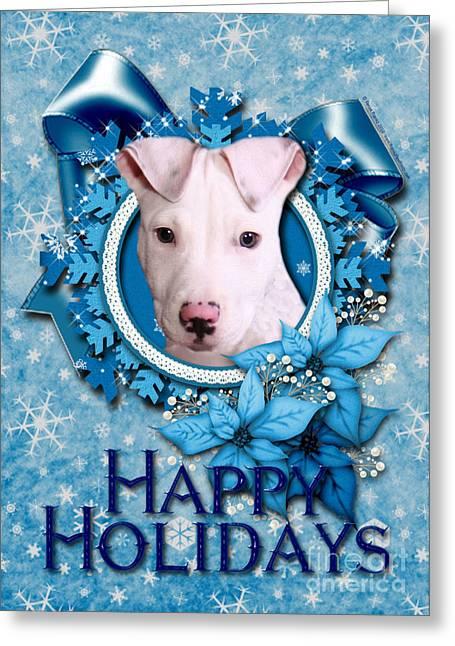 Christmas - Blue Snowflakes Pitbull Greeting Card by Renae Laughner