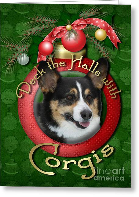 Christmas - Deck The Halls With Corgis Greeting Card by Renae Laughner