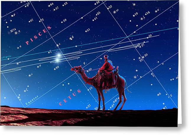 Christmas Star As Planetary Conjunction Greeting Card by Detlev Van Ravenswaay