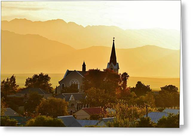 Greeting Card featuring the photograph Church At Dusk by Werner Lehmann
