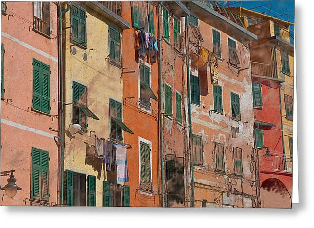 Cinque Terre Colorful Homes Greeting Card by Brandon Bourdages