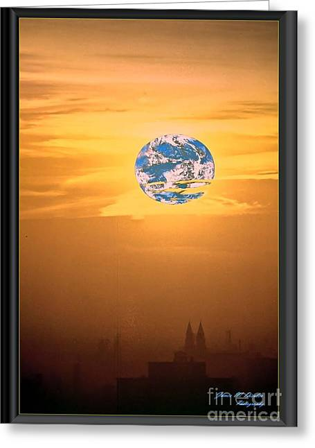 City Looking Back At Earth Greeting Card