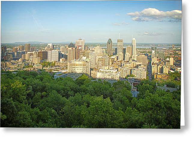 Cityscape Of Montreal Quebec Canada Greeting Card by Charles Knox