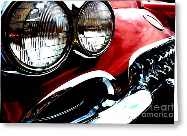 Greeting Card featuring the digital art Classic Vette by Tony Cooper