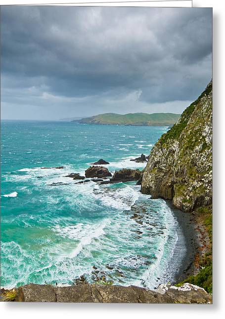 Cliffs Under Thunder Clouds And Turquoise Ocean Greeting Card by Ulrich Schade
