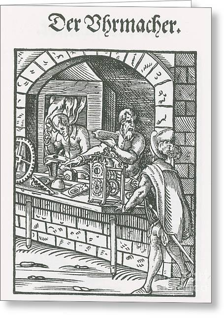 Clockmaker, Medieval Tradesman Greeting Card by Science Source