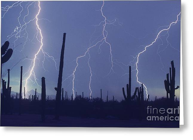 Cloud To Ground Lightning Greeting Card by John A Ey III and Photo Researchers
