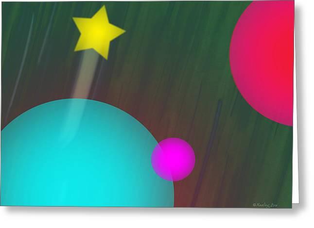 Cmyk Spheres Greeting Card by Xueling Zou