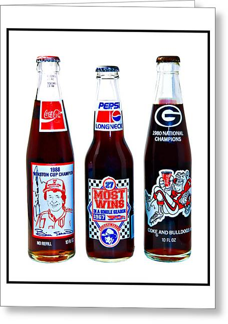 Collectable Cola Bottles Greeting Card by Susan Leggett
