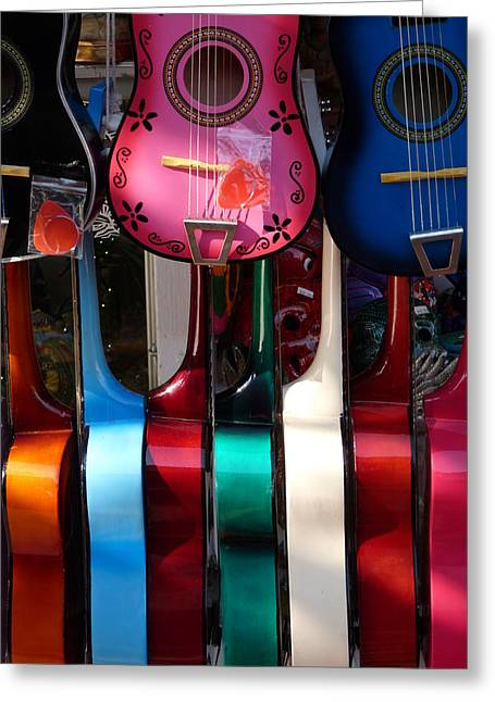 Colorful Guitars Greeting Card by Jeff Lowe