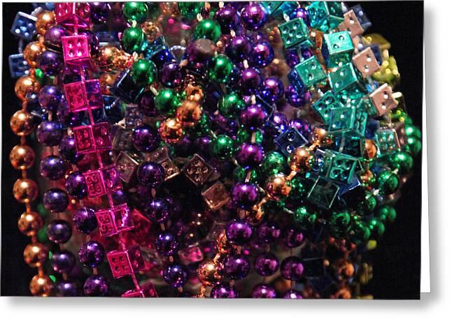 Colorful Mardi Gras Beads Greeting Card