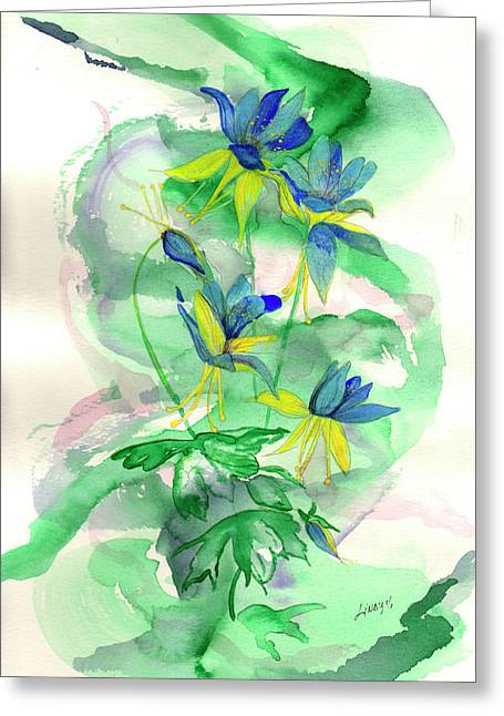 Columbines Greeting Card by Linda Palmer