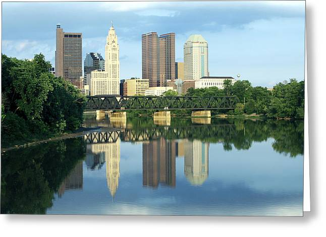 David Yunker Greeting Cards - Columbus Ohio Skyline Greeting Card by David Yunker