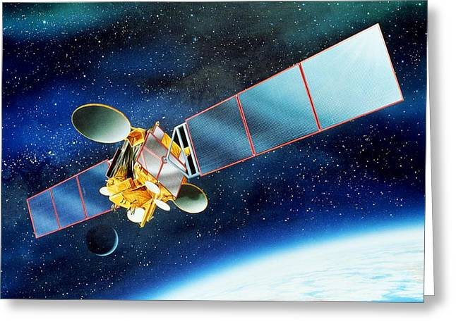 Communications Satellite Greeting Card by David Ducros