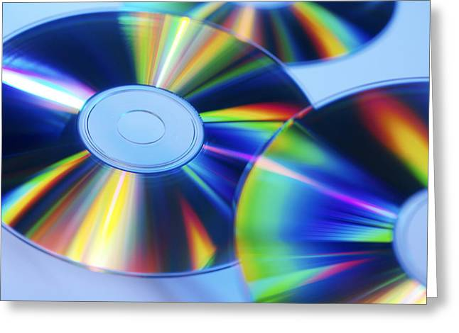 Compact Discs Greeting Card by Tek Image