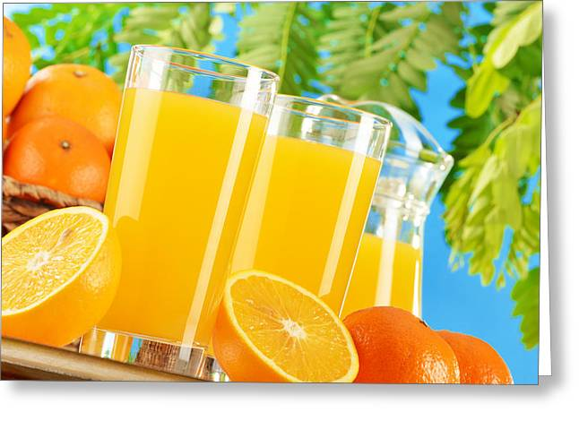 Composition With Two Glasses Of Orange Juice And Fruits Greeting Card by T Monticello