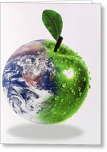 Computer Artwork Of Half Earth And Half Apple Greeting Card