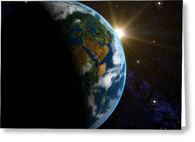 Computer Artwork Of Sunrise Over The Earth Greeting Card by Roger Harris
