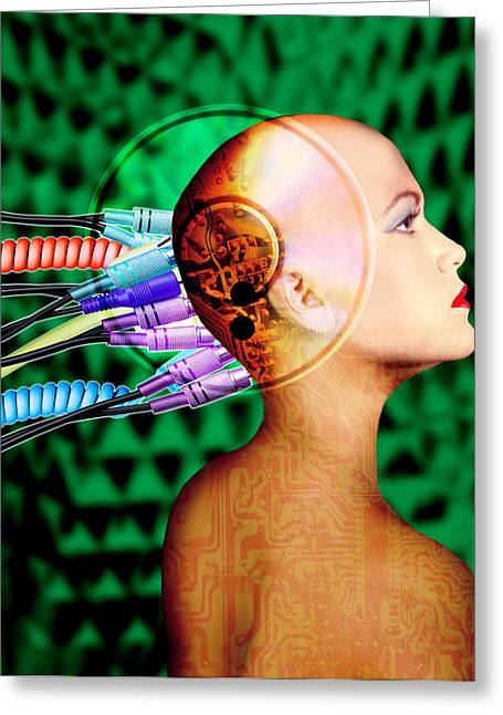 Computer Artwork Of Wires In A Woman's Head Greeting Card by Victor Habbick Visions