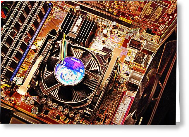 Computer Circuit Board Greeting Card by Pasieka