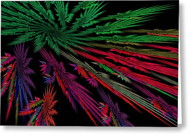 Computer Generated Red Green Abstract Fractal Flame Modern Art Greeting Card by Keith Webber Jr