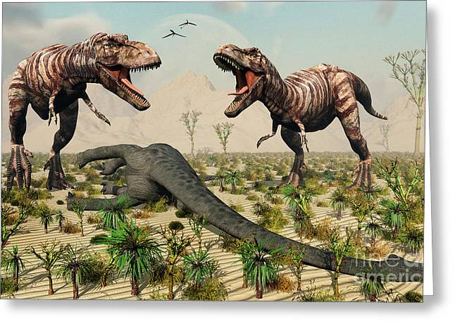Confrontation Between A Pair Of T. Rex Greeting Card by Mark Stevenson