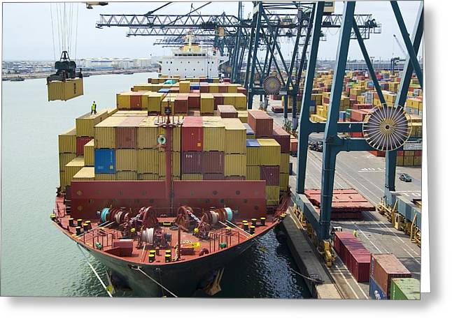 Container Ship And Port Greeting Card by Dr Juerg Alean
