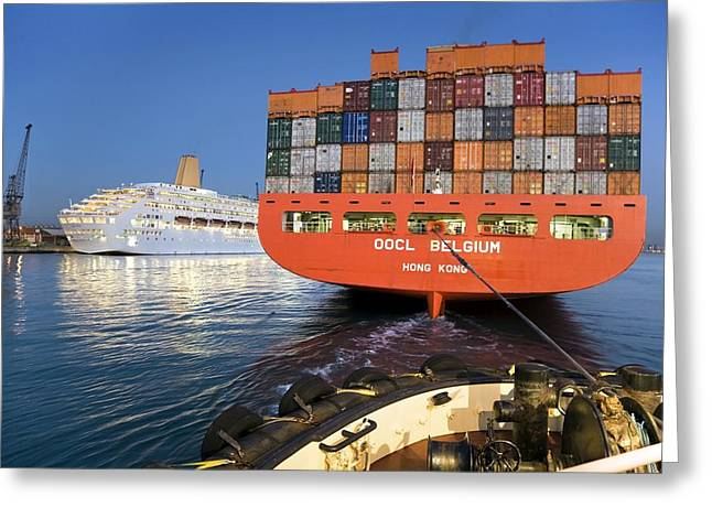 Container Ship Greeting Card by Paul Rapson