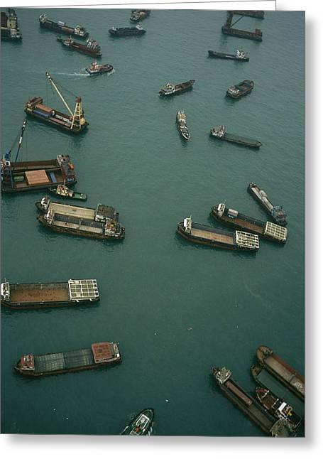 Container Ships In Hong Kong Harbor Greeting Card by Justin Guariglia