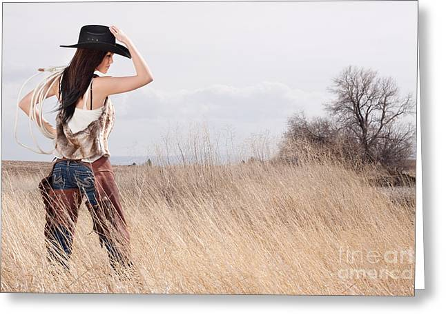 Country Girl Greeting Card by Cindy Singleton