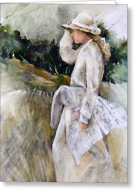 Country Girl Greeting Card by Joan  Jones