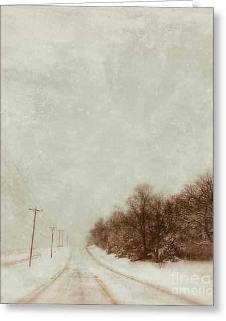 Country Road In Snow Greeting Card by Jill Battaglia