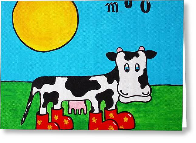 Cow Greeting Card by Sheep McTavish