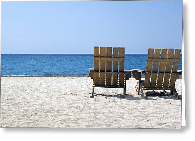 Greeting Card featuring the photograph Cozumel Mexico Beach Chairs And Blue Skies by Shawn O'Brien