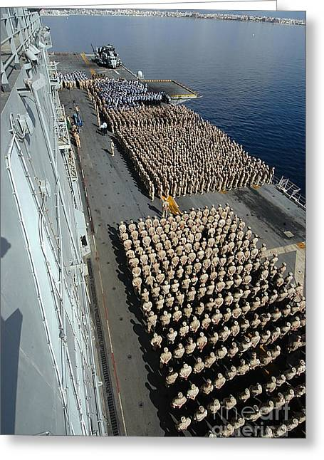 Crew Aboard The Amphibious Assault Ship Greeting Card by Stocktrek Images